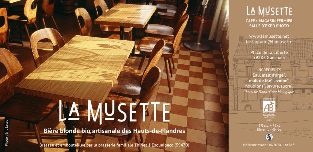 Présentation de l'étiquette de la bière blonde bio La Musette.