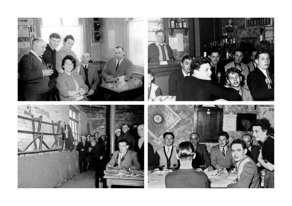 """Photographies Noir et Blanc à l'intérieur du café des """"Trois tilleuls"""" à Guesnain. En bas à gauche, une partie de billon."""